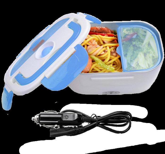 Ланч-бокс автомобильный электрический Electric Lunch box с подогревом 1.05 л - Контейнер для еды 12V Синий Топ