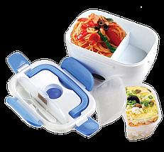 Ланч-бокс автомобильный электрический Electric Lunch box с подогревом 1.05 л - Контейнер для еды 12V Синий Топ, фото 3