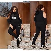 Женский стильный костюм 375 (р.50-60) черный, фото 1
