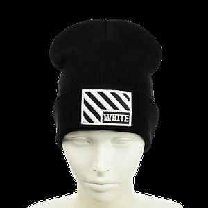 """Шапка """"OFF-WHITE"""" Чорна з білою вишивкою - молодіжна шапка-лопата з відворотом Топ"""