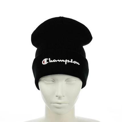 Шапка Champion / Чемпіон Чорна - молодіжна шапка-лопата з відворотом Топ, фото 2