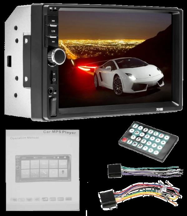 Автомагнітола 2DIN MP5 7018B + Bluetooth - магнітола 2 ДІН з екраном 7 дюймів, 2 пульта (звичайний і на кермо)