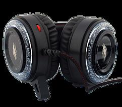 Игровые наушники A5 со светодиодной подсветкой и микрофоном - проводные компьютерные наушники USB, AUX, черные, фото 2