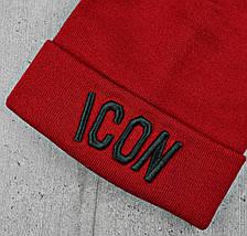 """Шапка """"ICON"""" Червона c чорними літерами - молодіжна шапка-лопата з відворотом Топ, фото 2"""