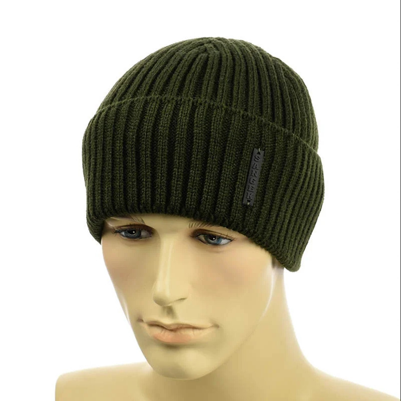 Чоловіча шапка з відворотом 1*1 Хакі, Чоловіча зимова шапка в'язана Топ