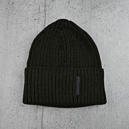Чоловіча шапка з відворотом 1*1 Хакі, Чоловіча зимова шапка в'язана Топ, фото 2