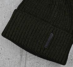 Чоловіча шапка з відворотом 1*1 Хакі, Чоловіча зимова шапка в'язана Топ, фото 3
