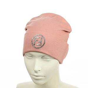 """Жіноча шапка з трендовим патчем """"FF"""" (Пудра) - молодіжна шапка-лопата з відворотом Топ"""