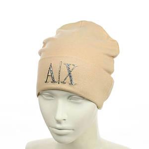 """Жіноча шапка з трендовим патчем """"АХ"""" (Бежева) - молодіжна шапка-лопата з відворотом Топ"""
