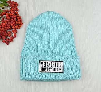 Жіноча шапка Melancholic з патчем (М'ята) - молодіжна шапка-лопата з відворотом Топ