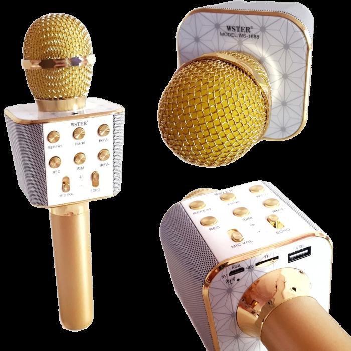 Микрофон караоке WSTER WS-1688 - беспроводной Bluetooth микрофон с 5 тембрами голоса Топ