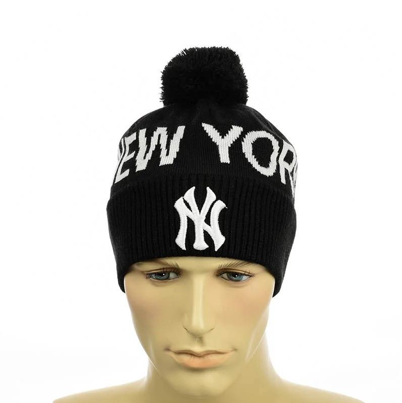 """Чоловіча молодіжна шапка """"New York"""" Чорна Чоловіча зимова шапка на флісі з відворотом Топ"""