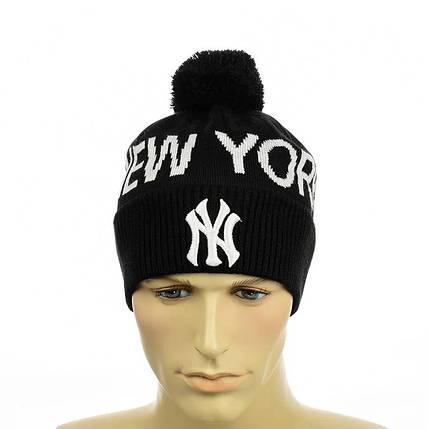 """Чоловіча молодіжна шапка """"New York"""" Чорна Чоловіча зимова шапка на флісі з відворотом Топ, фото 2"""