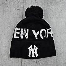 """Чоловіча молодіжна шапка """"New York"""" Чорна Чоловіча зимова шапка на флісі з відворотом Топ, фото 3"""