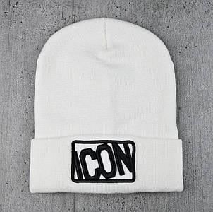 """Шапка """"ICON"""" Біла - молодіжна шапка-лопата з відворотом Топ"""