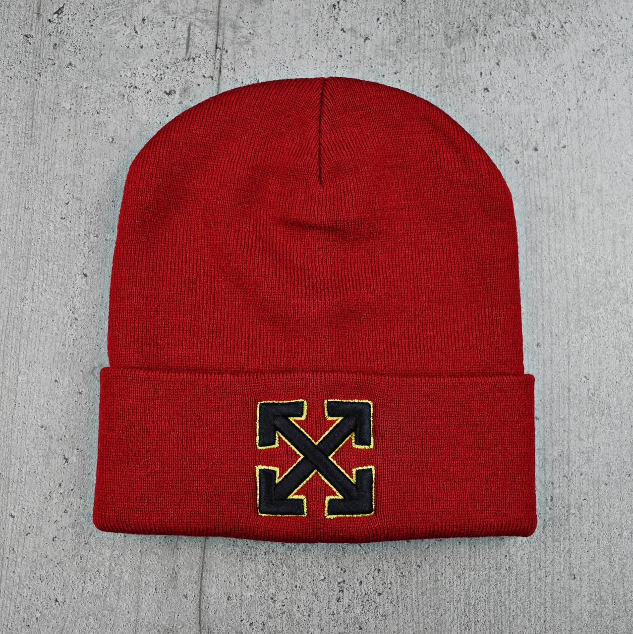 """Шапка """"OFF-WHITE"""" Червоне з жовтим кантом - молодіжна шапка-лопата з відворотом Топ"""