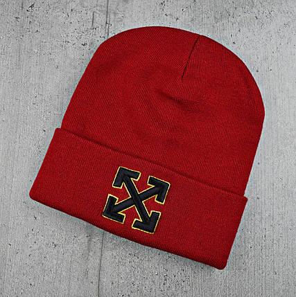 """Шапка """"OFF-WHITE"""" Червоне з жовтим кантом - молодіжна шапка-лопата з відворотом Топ, фото 2"""