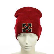 """Шапка """"OFF-WHITE"""" Червоне з жовтим кантом - молодіжна шапка-лопата з відворотом Топ, фото 3"""