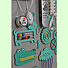 Розвиваюча дошка розмір 50*60 Бизиборд для дітей Бірюзовий Топ, фото 5