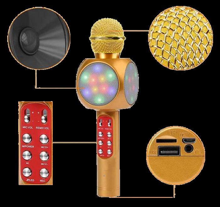 Микрофон караоке WSTER WS-1816 - беспроводной Bluetooth микрофон с cветомузыкой, слотом USB и FM тюнером Топ