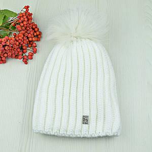 """Жіноча шапка """"Каріна"""" Біла - зимова шапка на флісі з помпоном Топ"""