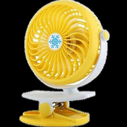 Міні вентилятор USB з прищіпкою Mini Fan ML-F168 - вентилятор з акумулятором на прищіпці Жовтий Топ, фото 2