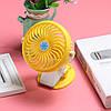 Міні вентилятор USB з прищіпкою Mini Fan ML-F168 - вентилятор з акумулятором на прищіпці Жовтий Топ, фото 5