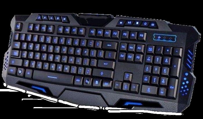 Клавіатура V-100P + мишка - ігровий комплект дротова клавіатура з 3-ма підсвічуваннями + миша Топ