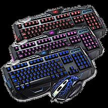 Клавіатура V-100P + мишка - ігровий комплект дротова клавіатура з 3-ма підсвічуваннями + миша Топ, фото 2