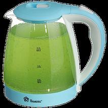 Электрочайник Domotec MS-8214 (2 л / 2200 Вт) Sky Blue - Чайник электрический с LED подсветкой Топ, фото 3