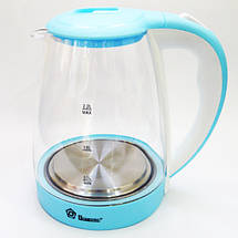 Электрочайник Domotec MS-8214 (2 л / 2200 Вт) Sky Blue - Чайник электрический с LED подсветкой Топ, фото 2