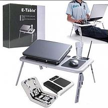 Столик для ноутбука E-Table LD-09 - Портативний складаний столик підставка для ноутбука з 2 USB кулерами Топ, фото 2