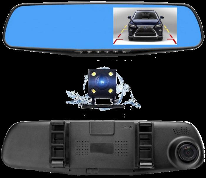 """Автомобільний відеореєстратор DVR-138W FullHD 1080p 4,3"""" - відеореєстратор дзеркало заднього виду (2 камери)"""