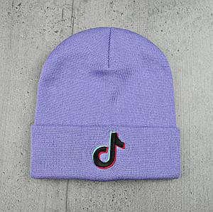 Шапка Tik Tok / ТикТок з чорним логотипом Фіалкова - молодіжна шапка-лопата з відворотом Топ