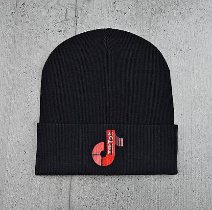 """Шапка з декором """"Tik-Tok"""" Чорна - молодіжна шапка-лопата з відворотом Топ, фото 2"""