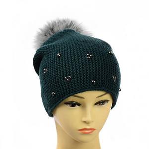 """Жіноча зимова шапка """"Поліна"""" Пляшкова - шапка на флісі з помпоном і намистинками Топ"""