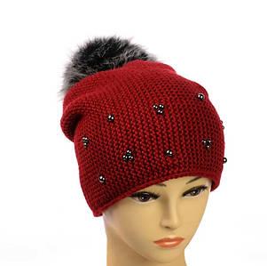 """Жіноча зимова шапка """"Поліна"""" Червона шапка на флісі з помпоном і намистинками Топ"""