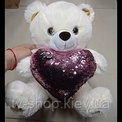 М'яка іграшка Ведмедик з серцем, 35 см
