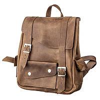Рюкзак из кожи Crazy horse унисекс SHVIGEL 13948 Коричневый.