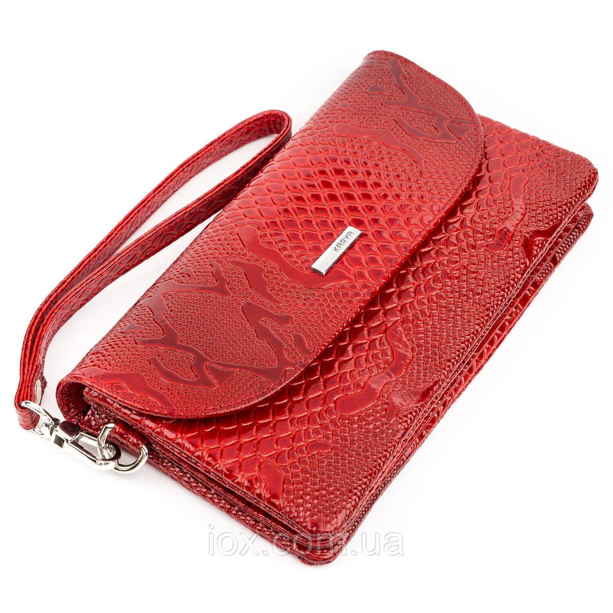 Клатч женский KARYA 17191 кожаный Красный