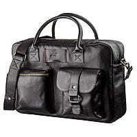 Мужской кожаный большой портфель для ноутбука SHVIGEL 19118 Черный