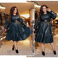 Женское стильное кожаное платье №835 (р.50-60) бутылка, фото 1