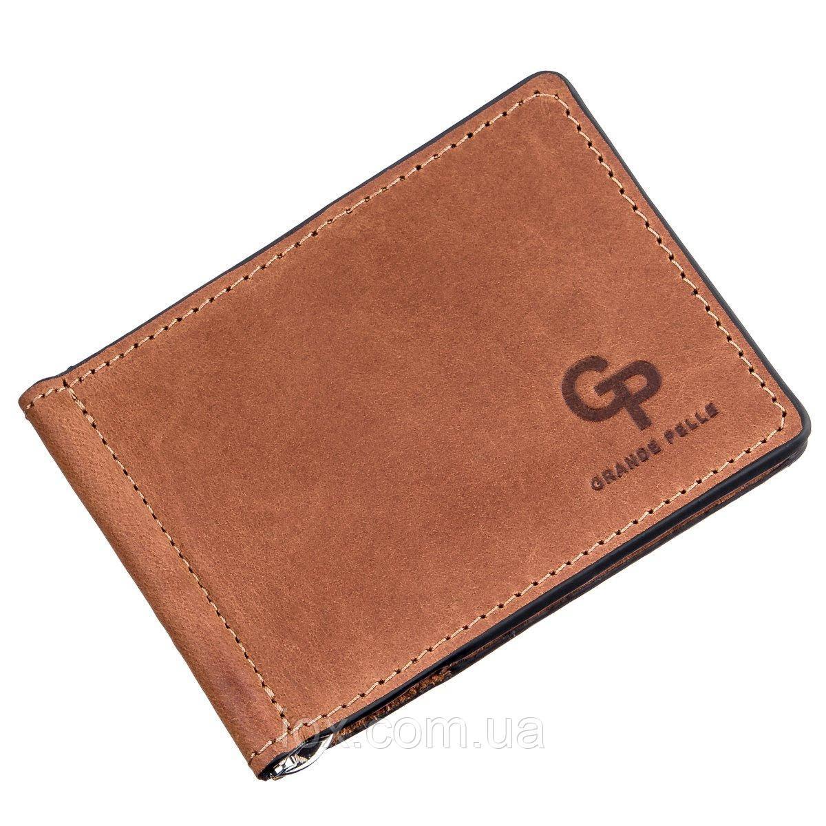 Компактний затиск для грошей на магніті GRANDE PELLE 11242 Рудий