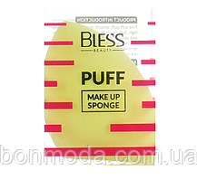 Спонж скошенный, жёлтый Bless Beauty PUFF Make Up Sponge