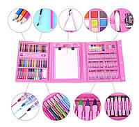 Набір для малювання та творчості з мольбертом Art Set Дитячий мистецький в кейсі валізі 208 шт. Рожевий