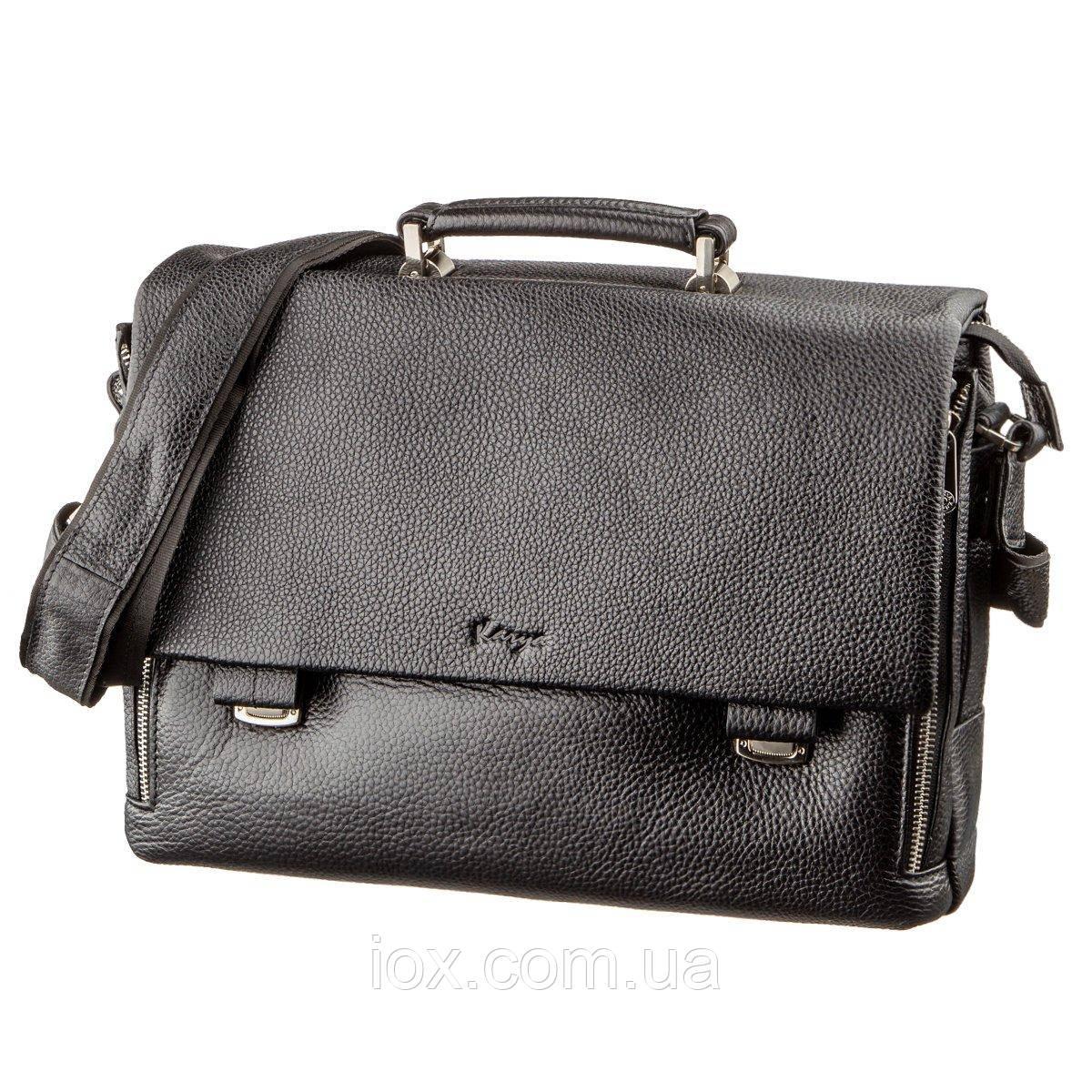 Портфель мужской KARYA 17283 кожаный Черный флотар