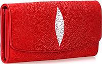 Гаманець жіночий STINGRAY LEATHER 18030 з натуральної шкіри морського скату Червоний, фото 1