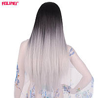 Длинный серый парик 60 см, прямые волосы, парики из высококачественных синтетических термостойких волокон