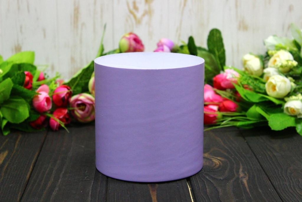Круглая коробка для цветов без крышки D110mm/H110mm №3 - Сиреневая