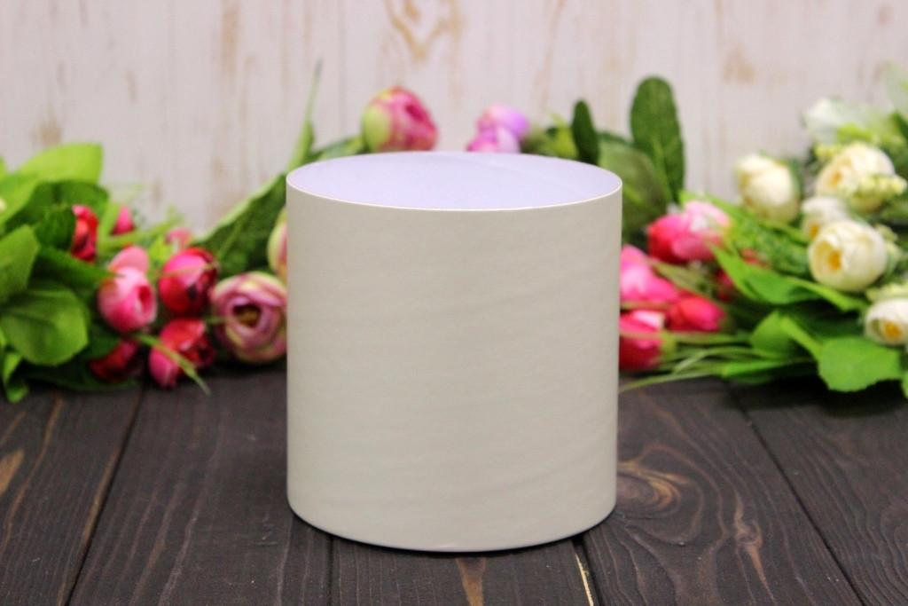 Круглая коробка для цветов без крышки D110mm/H110mm №6 - Ванильная